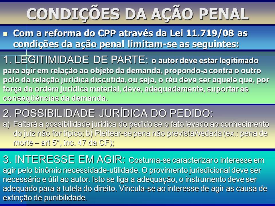CONDIÇÕES DA AÇÃO PENAL 1. LEGITIMIDADE DE PARTE: o autor deve estar legitimado para agir em relação ao objeto da demanda, propondo-a contra o outro p