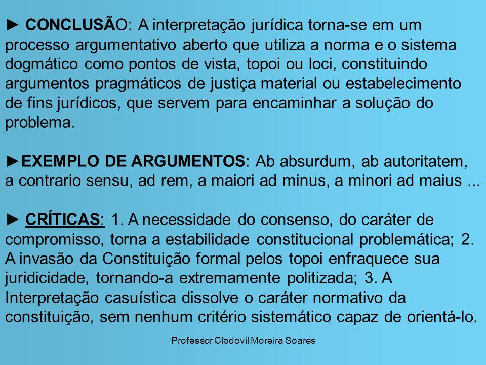 Professor Clodovil Moreira Soares CONCLUSÃO: A interpretação jurídica torna-se em um processo argumentativo aberto que utiliza a norma e o sistema dog