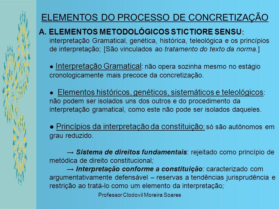 Professor Clodovil Moreira Soares ELEMENTOS DO PROCESSO DE CONCRETIZAÇÃO A. ELEMENTOS METODOLÓGICOS STICTIORE SENSU : interpretação Gramatical, genéti