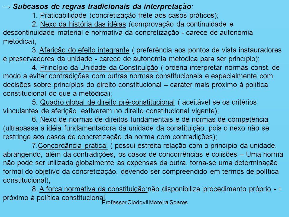 Professor Clodovil Moreira Soares Subcasos de regras tradicionais da interpretação : 1. Praticabilidade (concretização frete aos casos práticos); 2. N