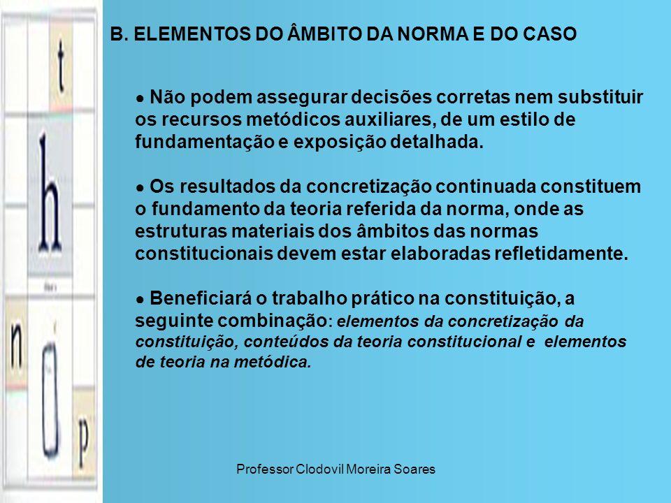 Professor Clodovil Moreira Soares B. ELEMENTOS DO ÂMBITO DA NORMA E DO CASO Não podem assegurar decisões corretas nem substituir os recursos metódicos