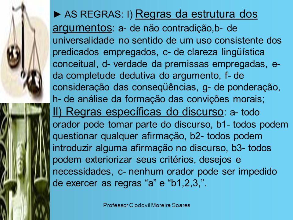 Professor Clodovil Moreira Soares AS REGRAS: I) Regras da estrutura dos argumentos : a- de não contradição,b- de universalidade no sentido de um uso c