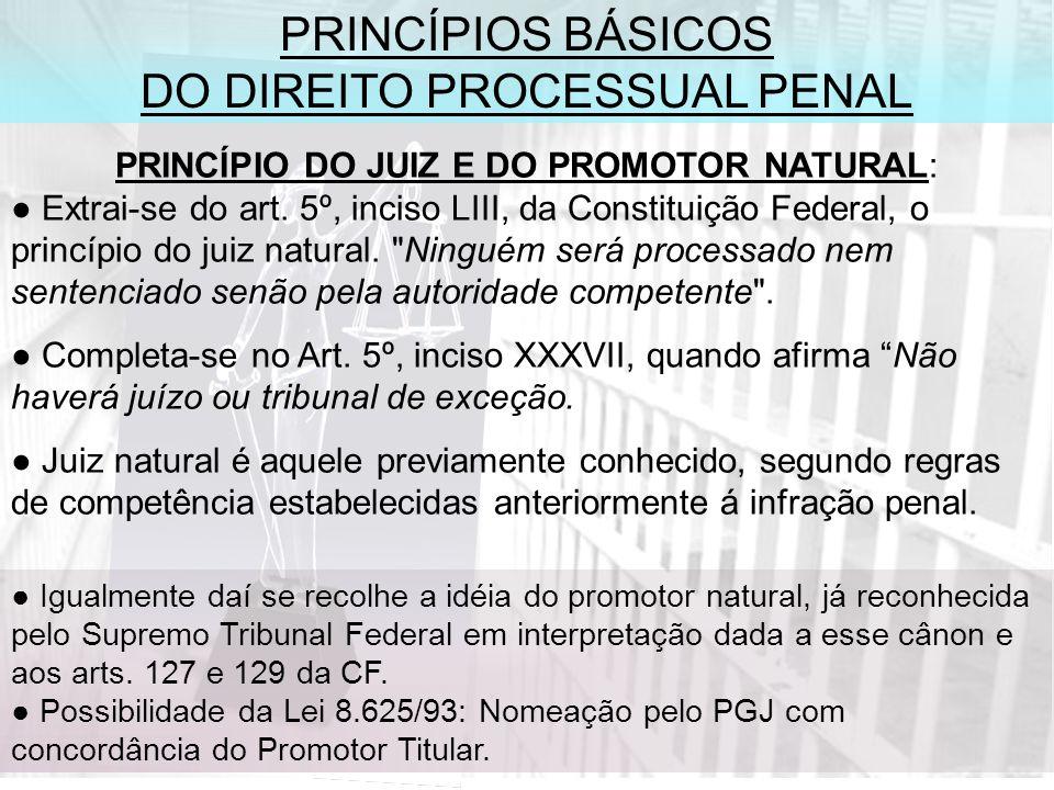 PRINCÍPIOS BÁSICOS DO DIREITO PROCESSUAL PENAL PRINCÍPIO DO JUIZ E DO PROMOTOR NATURAL: Extrai-se do art.