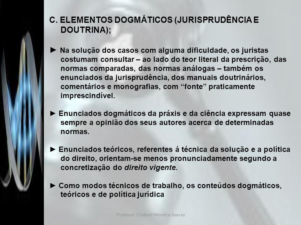 Professor Clodovil Moreira Soares C. ELEMENTOS DOGMÁTICOS (JURISPRUDÊNCIA E DOUTRINA); Na solução dos casos com alguma dificuldade, os juristas costum