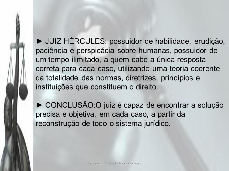 Professor Clodovil Moreira Soares JUIZ HÉRCULES: possuidor de habilidade, erudição, paciência e perspicácia sobre humanas, possuidor de um tempo ilimi
