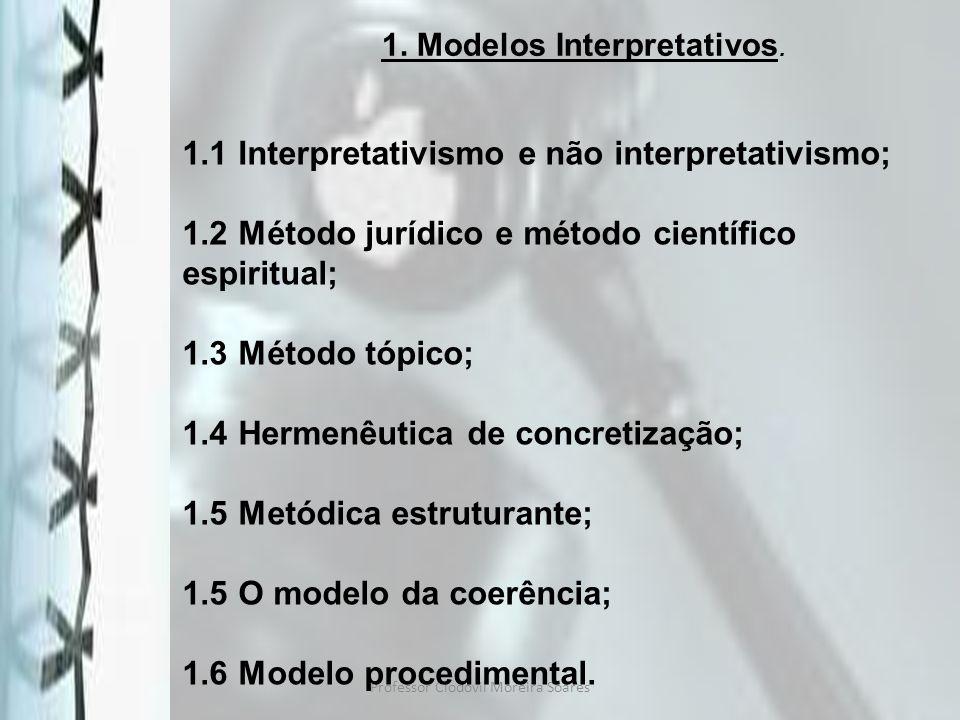 Professor Clodovil Moreira Soares 1. Modelos Interpretativos. 1.1 Interpretativismo e não interpretativismo; 1.2 Método jurídico e método científico e