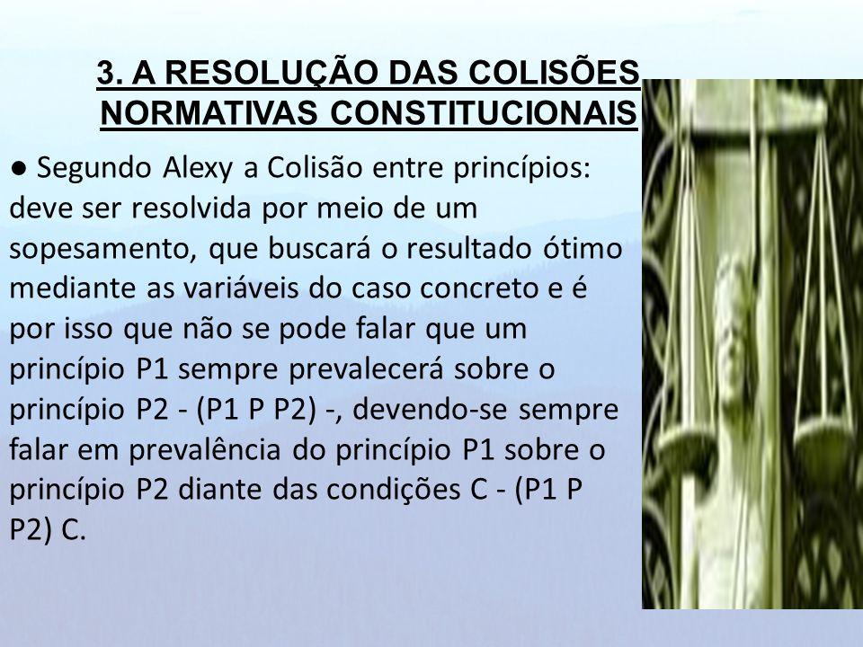 Segundo Alexy a Colisão entre princípios: deve ser resolvida por meio de um sopesamento, que buscará o resultado ótimo mediante as variáveis do caso c