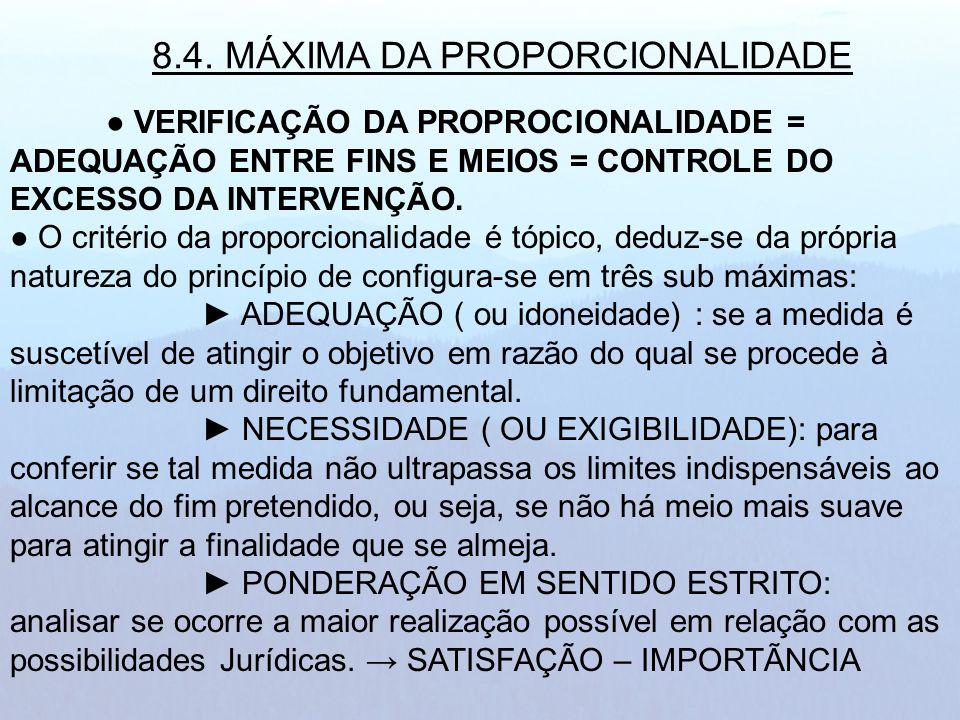 VERIFICAÇÃO DA PROPROCIONALIDADE = ADEQUAÇÃO ENTRE FINS E MEIOS = CONTROLE DO EXCESSO DA INTERVENÇÃO. O critério da proporcionalidade é tópico, deduz-