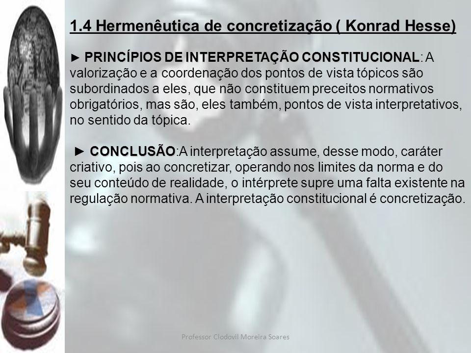 Professor Clodovil Moreira Soares 1.5 Metódica estruturante ( Frederich Muller) BUSCA UMA CONCEPÇÃO GLOBAL SISTEMATICAMENTE REFLEXIONANTE DOS MODOS DE TRABALHO DO DIREITO (CONSTITUCIONAL), A METÓDICA NO SENTIDO AQUI USADO É O CONCEITO ABRANGENTE DE HERMENÊUTICA, INTERPRETAÇÃO, MÉTODOS DE INTERPRETAÇÃO E METODOLOGIA.