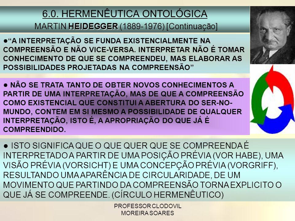 PROFESSOR CLODOVIL MOREIRA SOARES A INTERPRETAÇÃO SE FUNDA EXISTENCIALMENTE NA COMPREENSÃO E NÃO VICE-VERSA. INTERPRETAR NÃO É TOMAR CONHECIMENTO DE Q