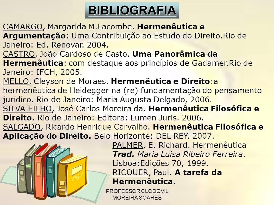 PROFESSOR CLODOVIL MOREIRA SOARES CAMARGO, Margarida M.Lacombe. Hermenêutica e Argumentação: Uma Contribuição ao Estudo do Direito.Rio de Janeiro: Ed.