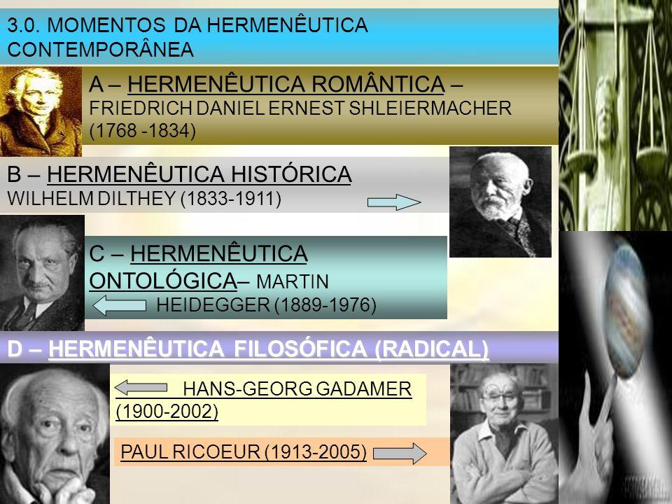 3.0. MOMENTOS DA HERMENÊUTICA CONTEMPORÂNEA A – HERMENÊUTICA ROMÂNTICA – FRIEDRICH DANIEL ERNEST SHLEIERMACHER (1768 -1834) B – HERMENÊUTICA HISTÓRICA
