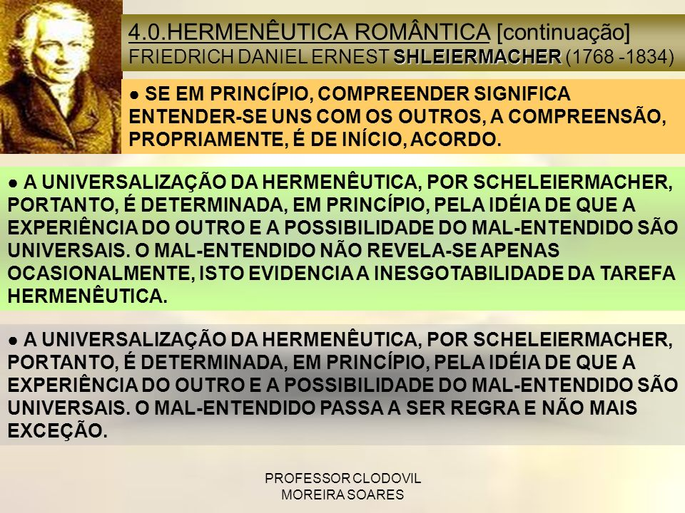 PROFESSOR CLODOVIL MOREIRA SOARES 4.0.HERMENÊUTICA ROMÂNTICA [continuação] SHLEIERMACHER FRIEDRICH DANIEL ERNEST SHLEIERMACHER (1768 -1834) SE EM PRIN