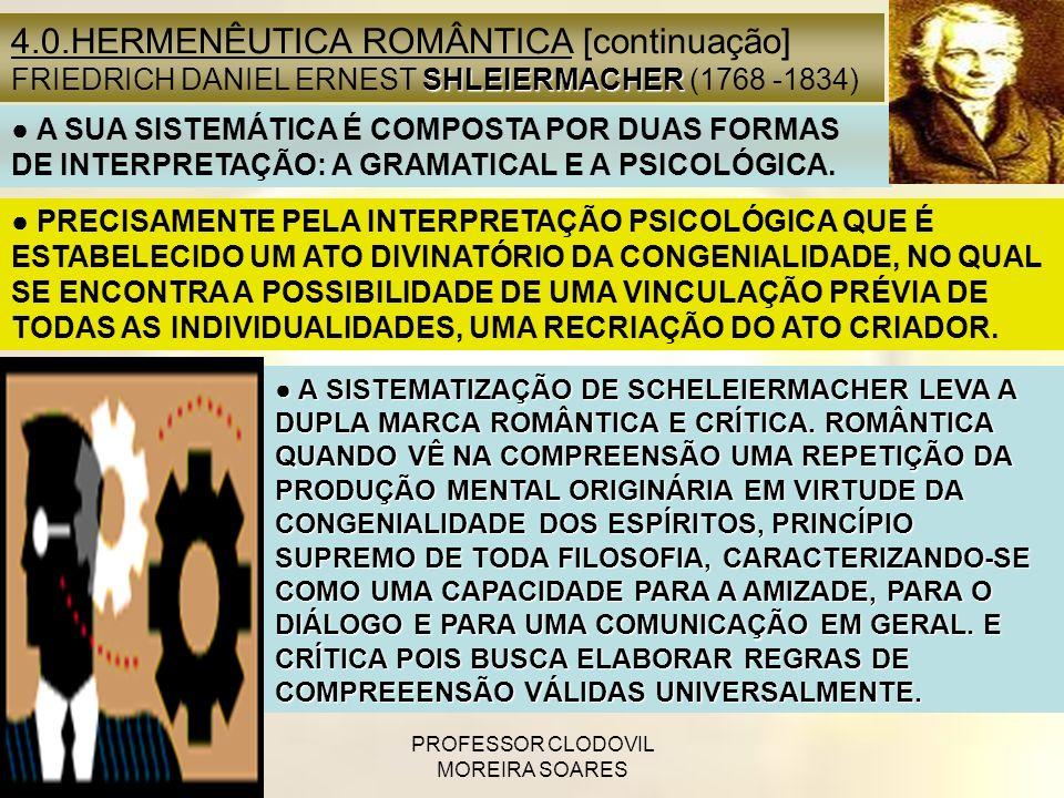 PROFESSOR CLODOVIL MOREIRA SOARES PRECISAMENTE PELA INTERPRETAÇÃO PSICOLÓGICA QUE É ESTABELECIDO UM ATO DIVINATÓRIO DA CONGENIALIDADE, NO QUAL SE ENCO