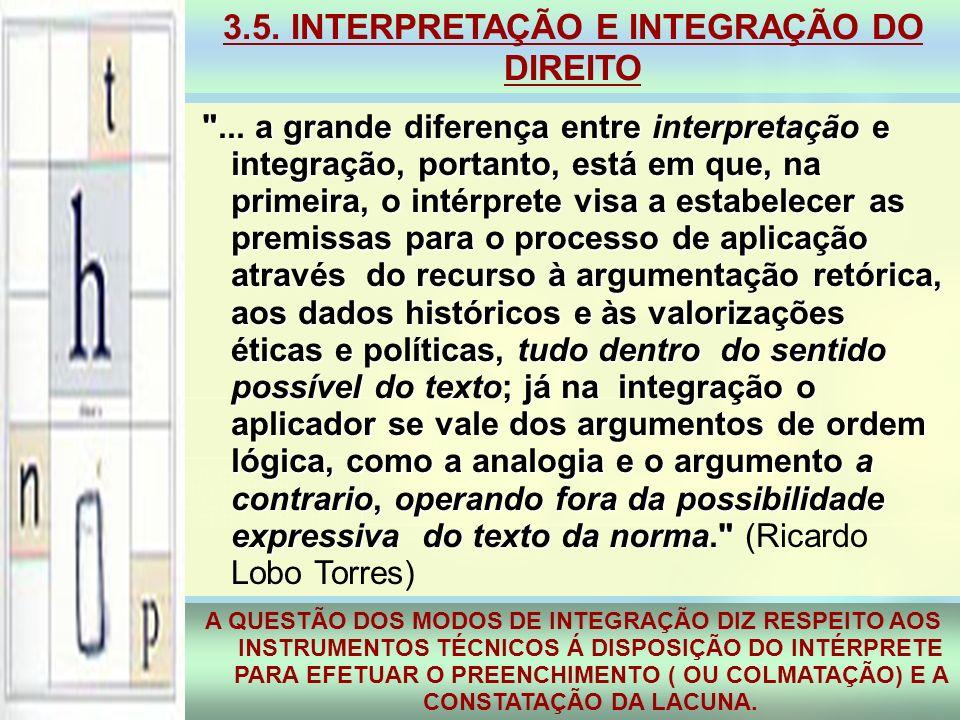 3.5. INTERPRETAÇÃO E INTEGRAÇÃO DO DIREITO A QUESTÃO DOS MODOS DE INTEGRAÇÃO DIZ RESPEITO AOS INSTRUMENTOS TÉCNICOS Á DISPOSIÇÃO DO INTÉRPRETE PARA EF