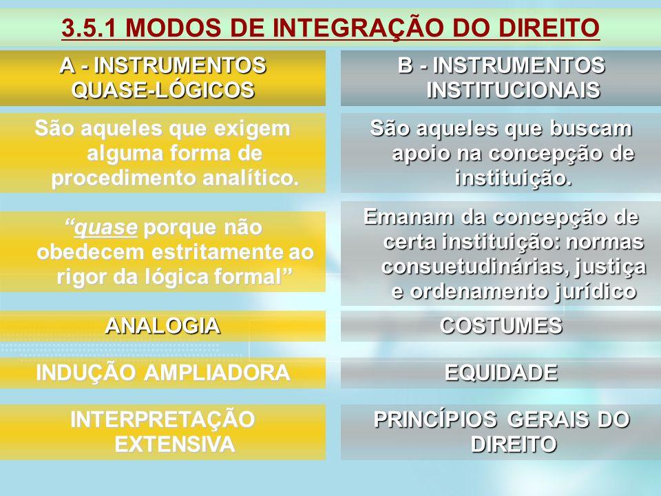 3.5.1 MODOS DE INTEGRAÇÃO DO DIREITO A - INSTRUMENTOS QUASE-LÓGICOS B - INSTRUMENTOS INSTITUCIONAIS São aqueles que exigem alguma forma de procediment