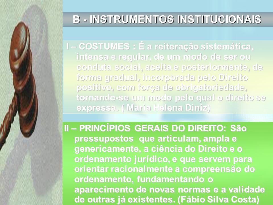 B - INSTRUMENTOS INSTITUCIONAIS I – COSTUMES : É a reiteração sistemática, intensa e regular, de um modo de ser ou conduta social, aceita e posteriorm