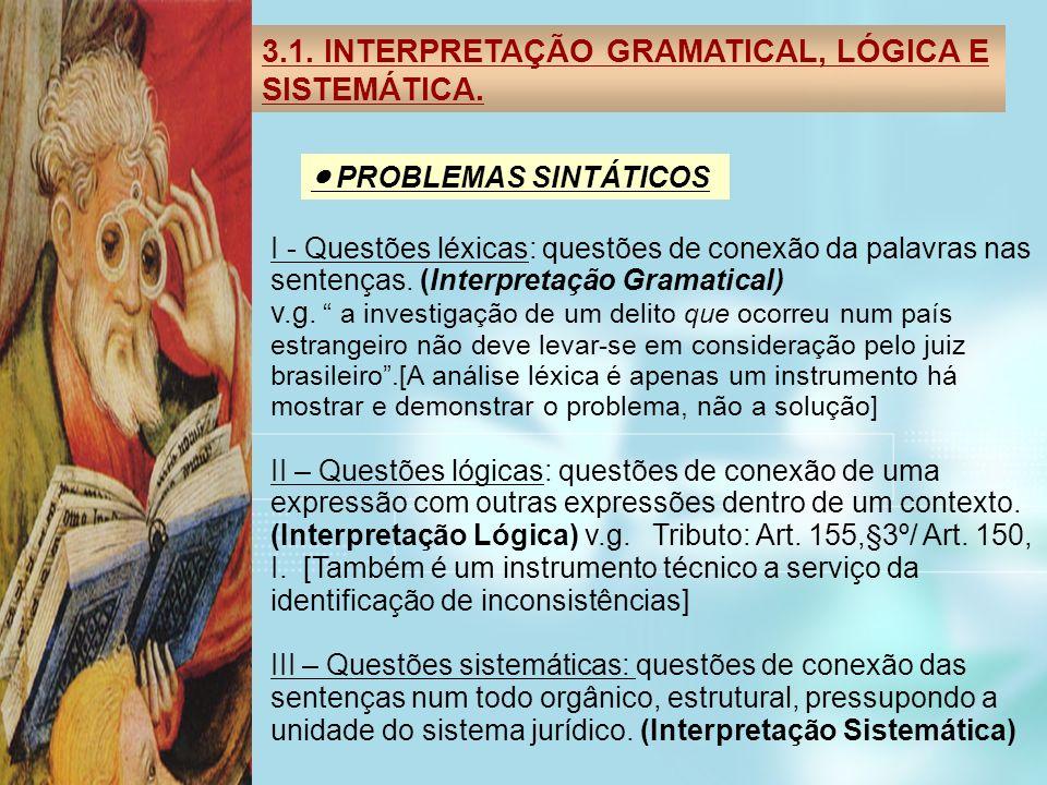 3.1. INTERPRETAÇÃO GRAMATICAL, LÓGICA E SISTEMÁTICA. PROBLEMAS SINTÁTICOS I - Questões léxicas: questões de conexão da palavras nas sentenças. (Interp