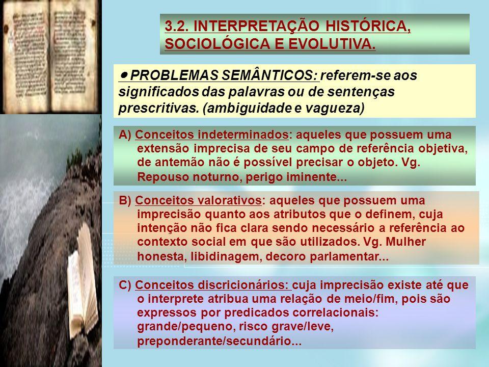 3.2. INTERPRETAÇÃO HISTÓRICA, SOCIOLÓGICA E EVOLUTIVA. PROBLEMAS SEMÂNTICOS: referem-se aos significados das palavras ou de sentenças prescritivas. (a