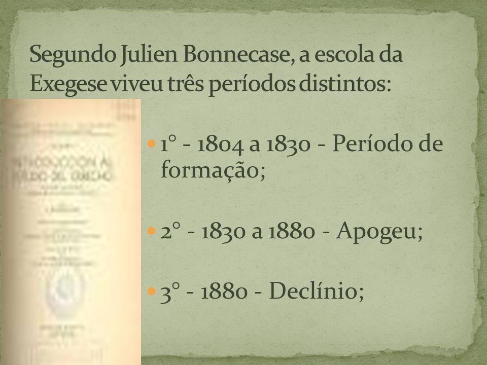 1° - 1804 a 1830 - Período de formação; 2° - 1830 a 1880 - Apogeu; 3° - 1880 - Declínio;