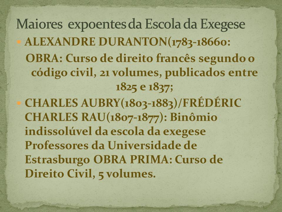 ALEXANDRE DURANTON(1783-18660: OBRA: Curso de direito francês segundo o código civil, 21 volumes, publicados entre 1825 e 1837; CHARLES AUBRY(1803-1883)/FRÉDÉRIC CHARLES RAU(1807-1877): Binômio indissolúvel da escola da exegese Professores da Universidade de Estrasburgo OBRA PRIMA: Curso de Direito Civil, 5 volumes.