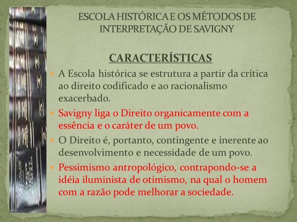 CARACTERÍSTICAS A Escola histórica se estrutura a partir da crítica ao direito codificado e ao racionalismo exacerbado.