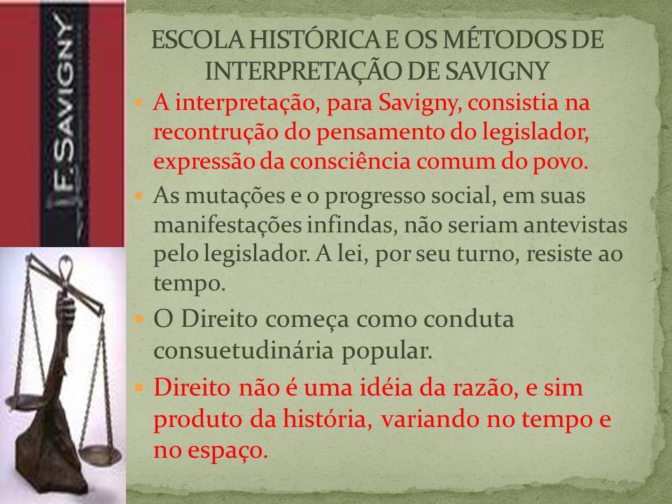 A interpretação, para Savigny, consistia na recontrução do pensamento do legislador, expressão da consciência comum do povo.