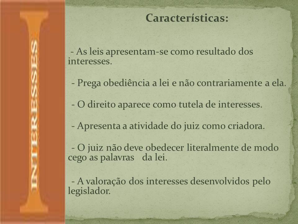 Características: - As leis apresentam-se como resultado dos interesses.