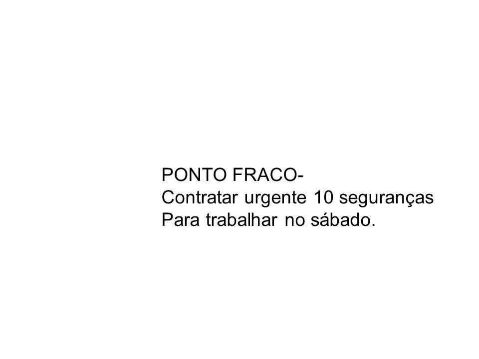 PONTO FRACO- Contratar urgente 10 seguranças Para trabalhar no sábado.