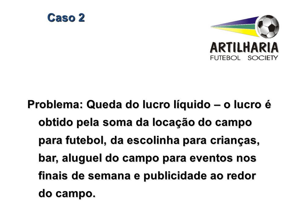 Caso 2 Problema: Queda do lucro líquido – o lucro é obtido pela soma da locação do campo para futebol, da escolinha para crianças, bar, aluguel do cam