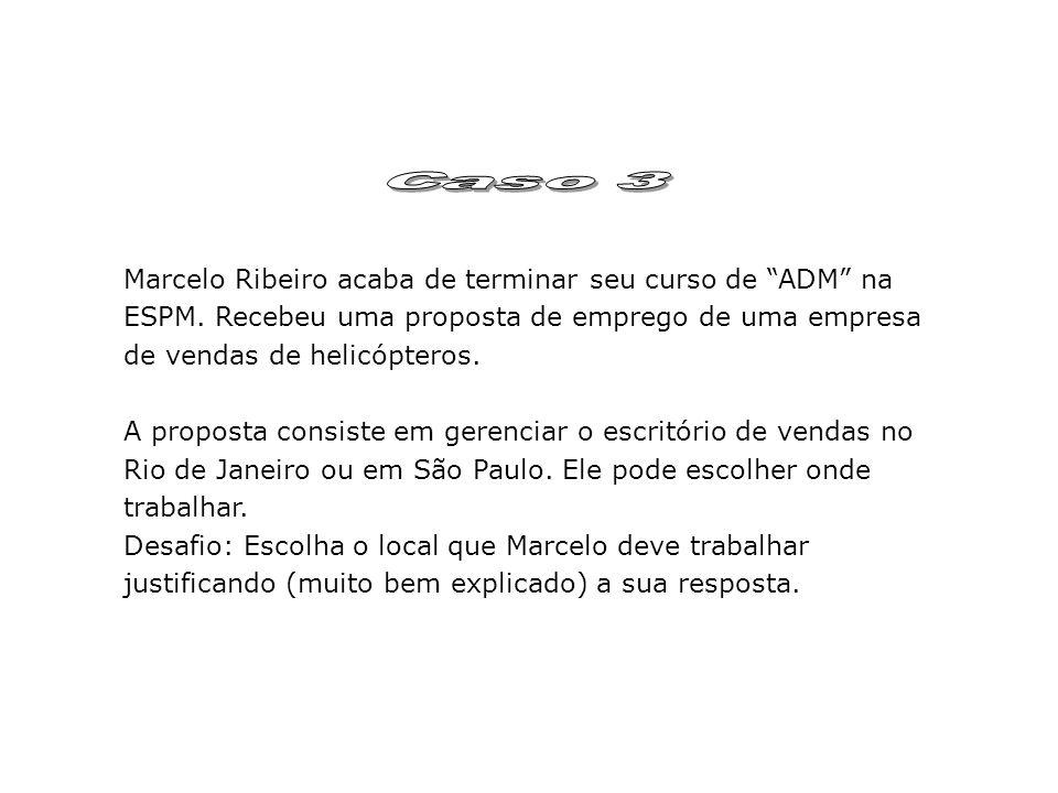 Marcelo Ribeiro acaba de terminar seu curso de ADM na ESPM. Recebeu uma proposta de emprego de uma empresa de vendas de helicópteros. A proposta consi