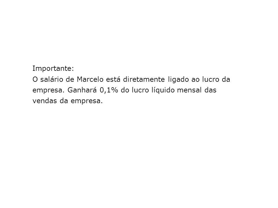 Importante: O salário de Marcelo está diretamente ligado ao lucro da empresa. Ganhará 0,1% do lucro líquido mensal das vendas da empresa.