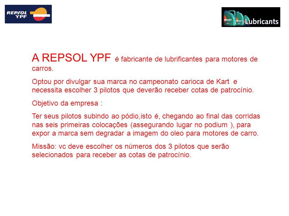 A REPSOL YPF é fabricante de lubrificantes para motores de carros. Optou por divulgar sua marca no campeonato carioca de Kart e necessita escolher 3 p