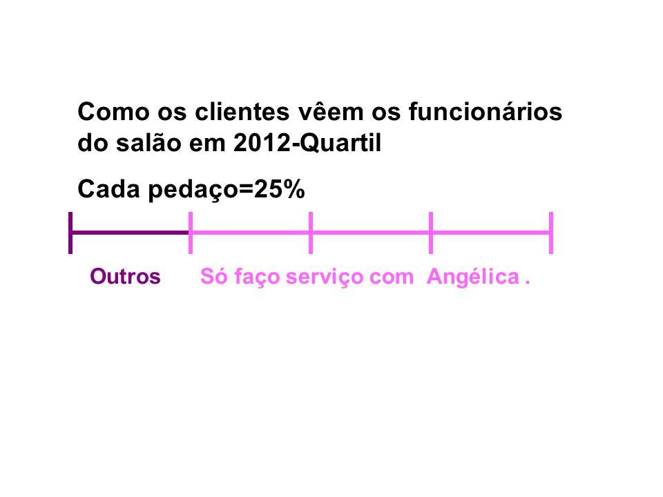 Como os clientes vêem os funcionários do salão em 2012-Quartil Cada pedaço=25% OutrosSó faço serviço com Angélica.