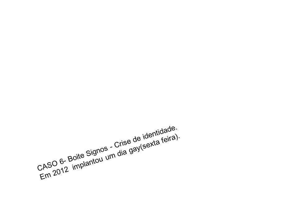 CASO 6- Boite Signos - Crise de identidade. Em 2012 implantou um dia gay(sexta feira).