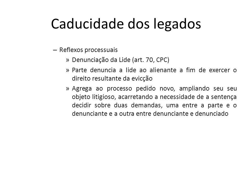Caducidade dos legados – Reflexos processuais » Denunciação da Lide (art. 70, CPC) » Parte denuncia a lide ao alienante a fim de exercer o direito res