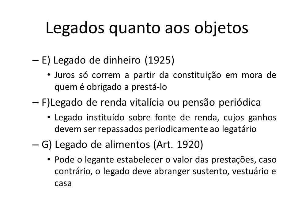 Legados quanto aos objetos – E) Legado de dinheiro (1925) Juros só correm a partir da constituição em mora de quem é obrigado a prestá-lo – F)Legado d
