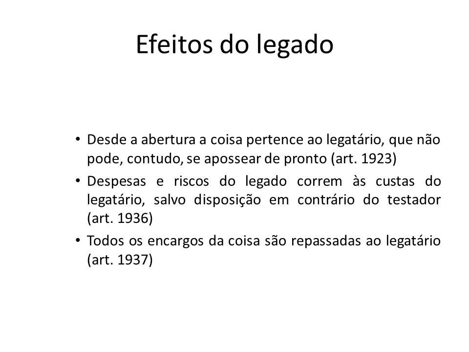 Efeitos do legado Desde a abertura a coisa pertence ao legatário, que não pode, contudo, se apossear de pronto (art. 1923) Despesas e riscos do legado
