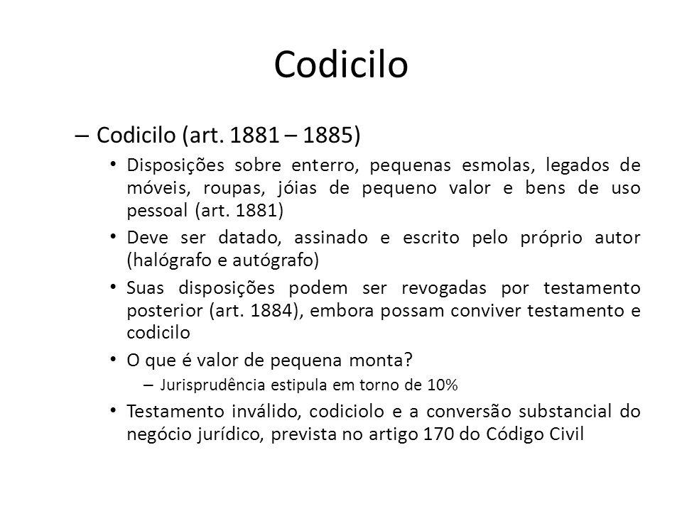 Codicilo – Codicilo (art. 1881 – 1885) Disposições sobre enterro, pequenas esmolas, legados de móveis, roupas, jóias de pequeno valor e bens de uso pe