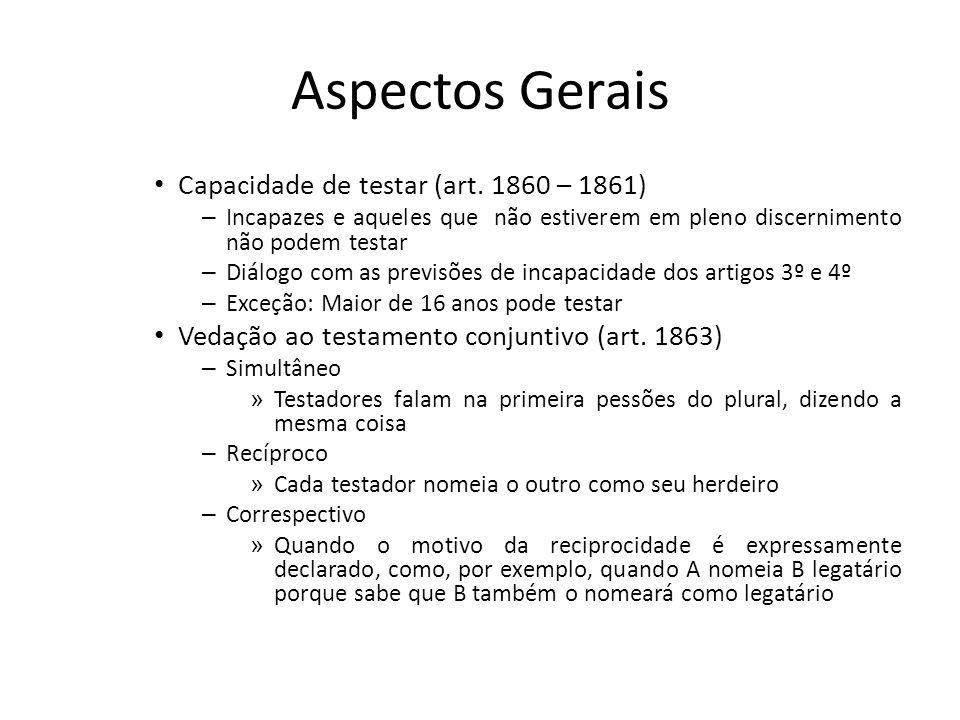 Aspectos Gerais Capacidade de testar (art. 1860 – 1861) – Incapazes e aqueles que não estiverem em pleno discernimento não podem testar – Diálogo com