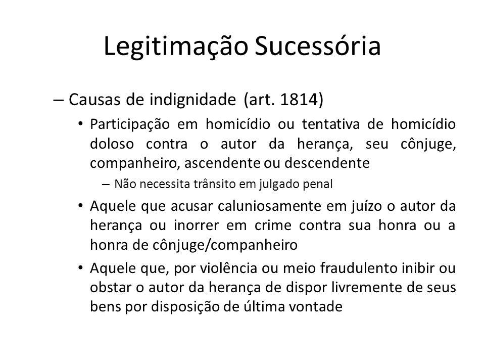 Legitimação Sucessória – Causas de indignidade (art. 1814) Participação em homicídio ou tentativa de homicídio doloso contra o autor da herança, seu c
