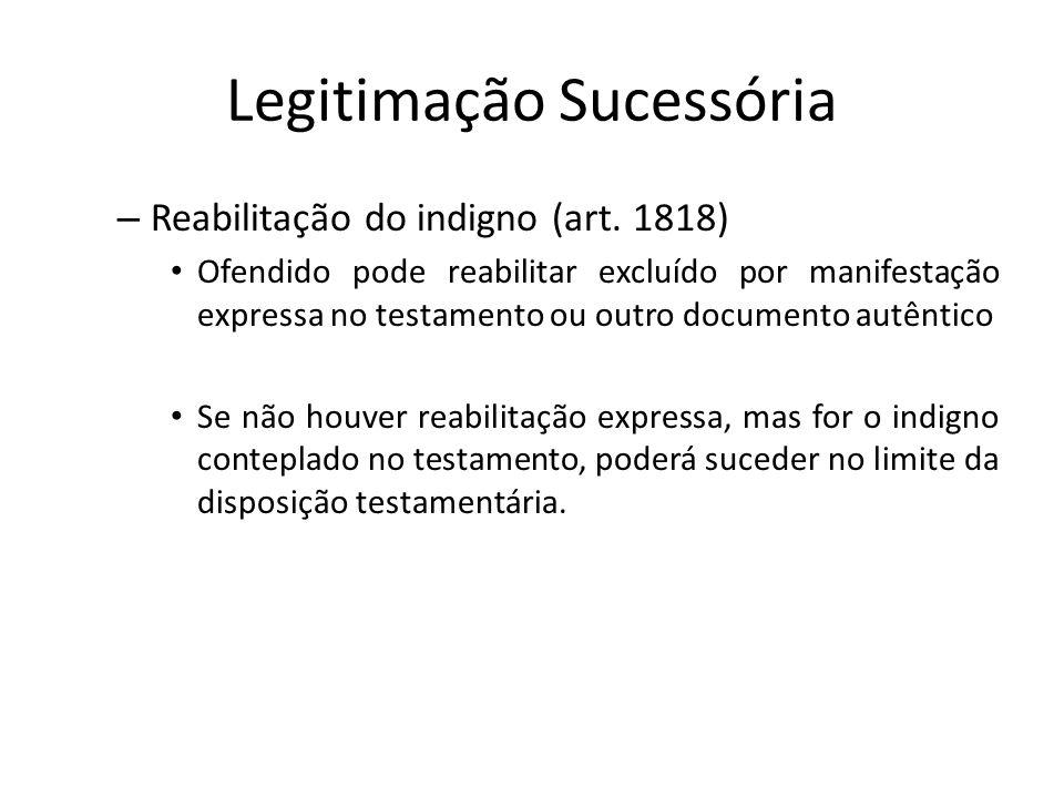 Legitimação Sucessória – Reabilitação do indigno (art. 1818) Ofendido pode reabilitar excluído por manifestação expressa no testamento ou outro docume