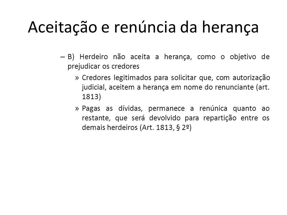 Aceitação e renúncia da herança – B) Herdeiro não aceita a herança, como o objetivo de prejudicar os credores » Credores legitimados para solicitar qu