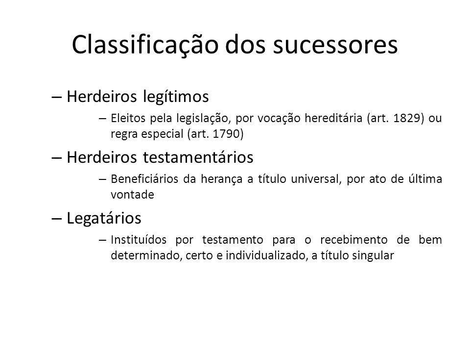 Classificação dos sucessores – Herdeiros legítimos – Eleitos pela legislação, por vocação hereditária (art. 1829) ou regra especial (art. 1790) – Herd