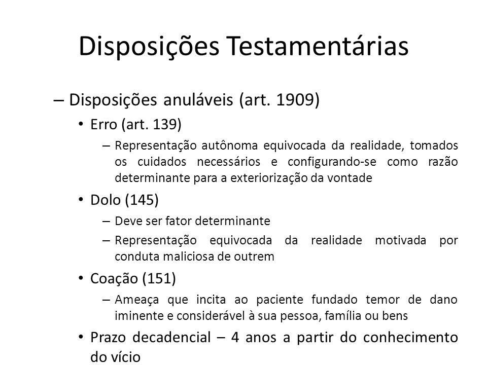 Disposições Testamentárias – Disposições anuláveis (art. 1909) Erro (art. 139) – Representação autônoma equivocada da realidade, tomados os cuidados n