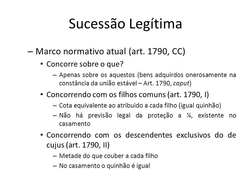 Sucessão Legítima – Marco normativo atual (art. 1790, CC) Concorre sobre o que? – Apenas sobre os aquestos (bens adquirdos onerosamente na constância
