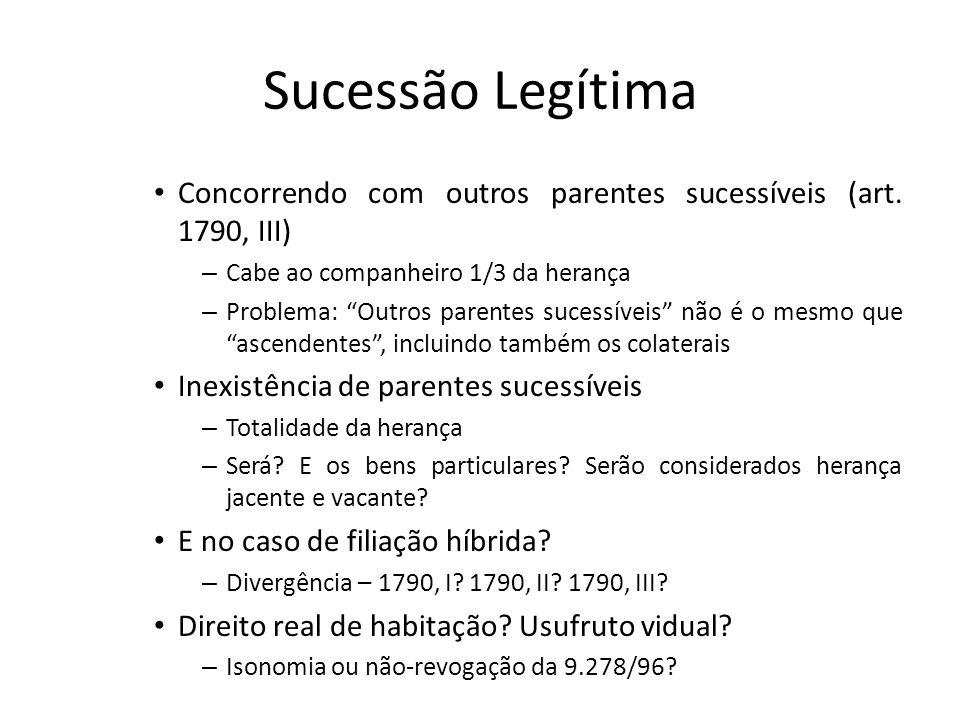 Sucessão Legítima Concorrendo com outros parentes sucessíveis (art. 1790, III) – Cabe ao companheiro 1/3 da herança – Problema: Outros parentes sucess