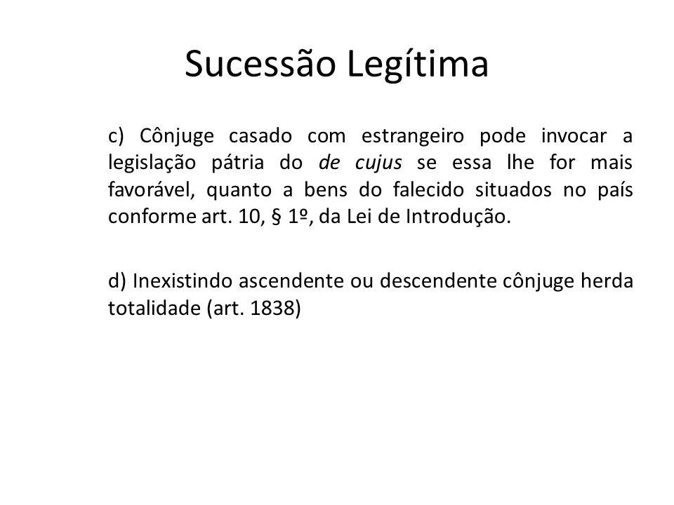 Sucessão Legítima c) Cônjuge casado com estrangeiro pode invocar a legislação pátria do de cujus se essa lhe for mais favorável, quanto a bens do fale