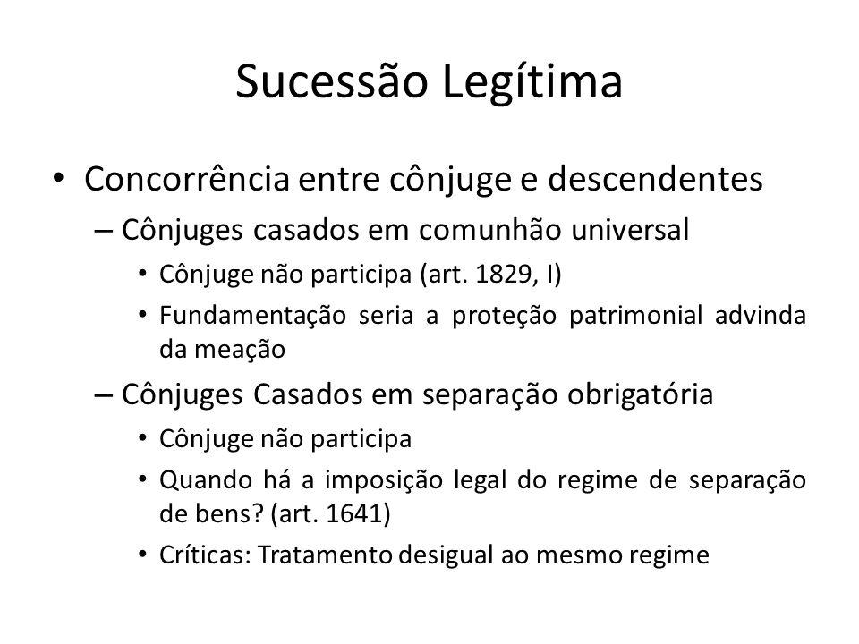 Sucessão Legítima Concorrência entre cônjuge e descendentes – Cônjuges casados em comunhão universal Cônjuge não participa (art. 1829, I) Fundamentaçã