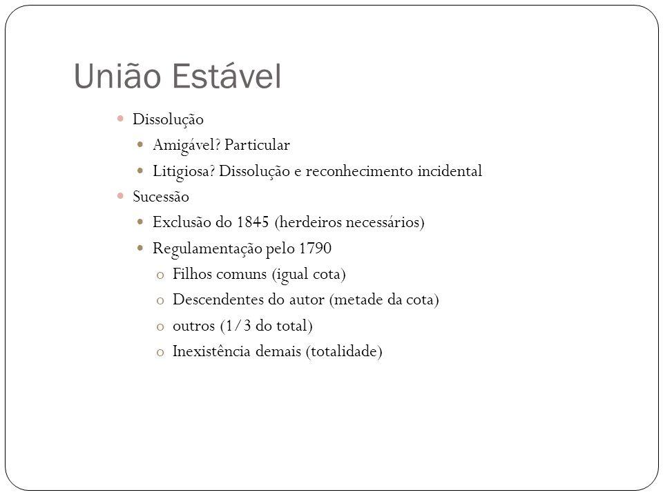 União Estável Concubinato/Sociedade de fato/Famílias Paralelas Não aplicação União Estável (1727) REsp 742.685742.685 RE 397.762397.762